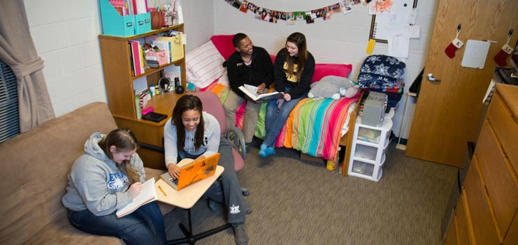 Students studying in their rooms