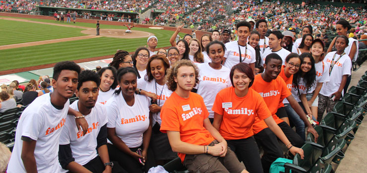 Multicultural Students at a Baseball Game