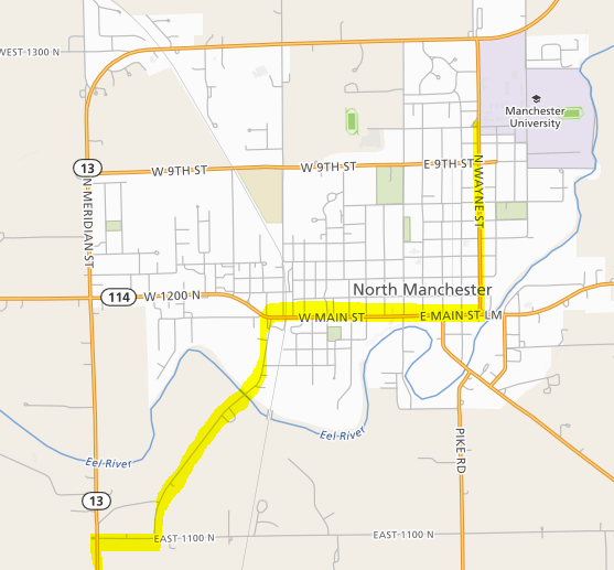 North Manchester Indiana Map.Suggested Routes To North Manchester Manchester University