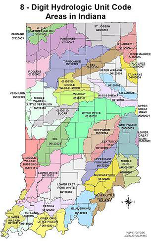 Digit Hydrologic Unit Code Areas in Indiana