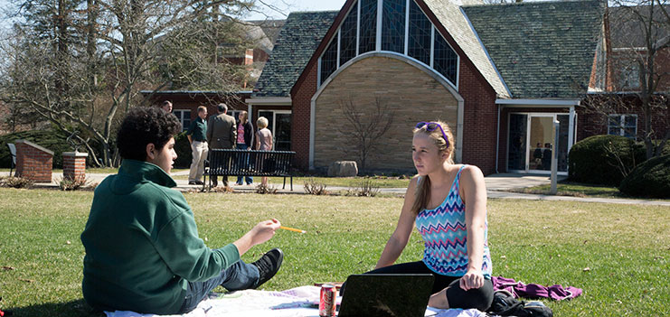 Philosophy and Religious Studies students on lawn