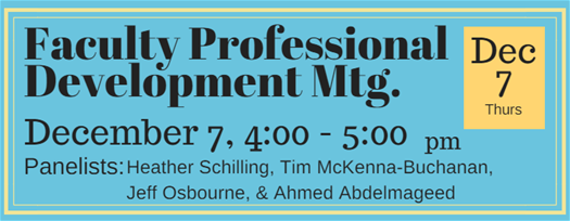 Faculty Professional Development Session December 7