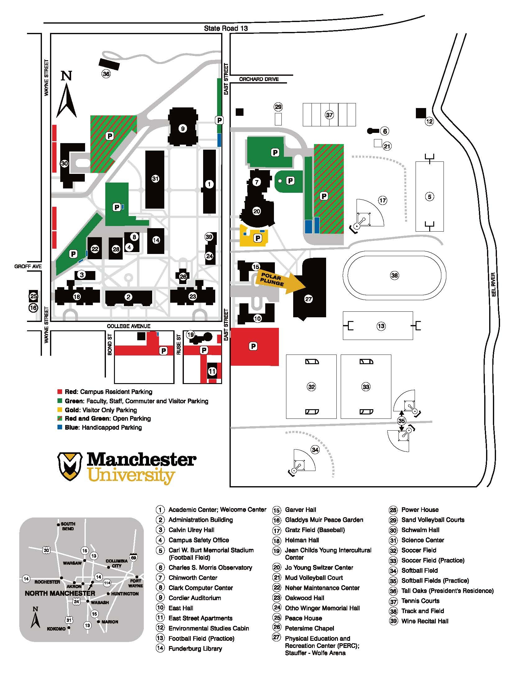 Campus map 2019 color coded polar plunge