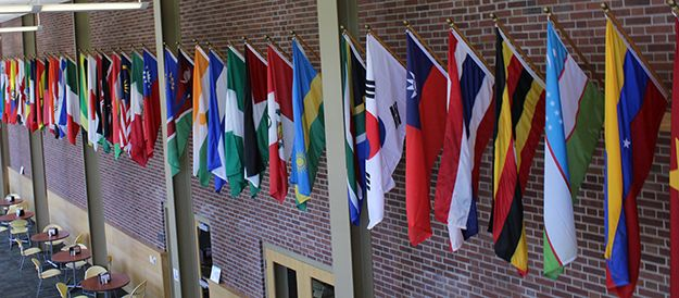 International flag display in Haist Commons
