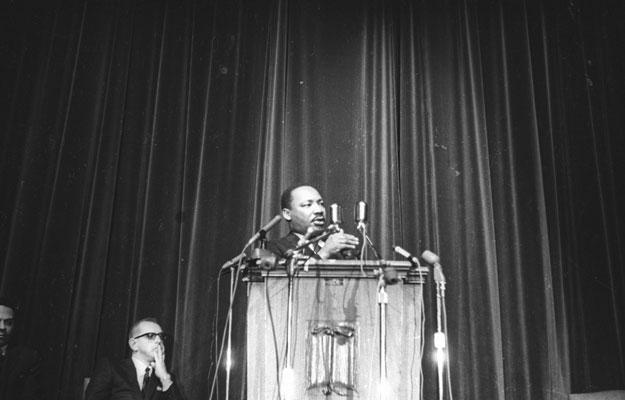 Martin Luther King Jr. speaks at Manchester in 1968.